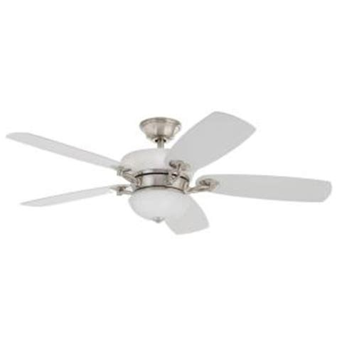 Brushed Nickel Ceiling Fans With White Blades by Home Decorators Collection Chardonnay 52 In Indoor