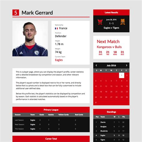 Soccer Player Profile Template by Premier Premium Theme For Football Clubs
