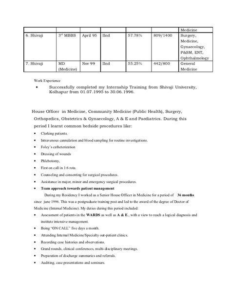 doctor mbbs resume