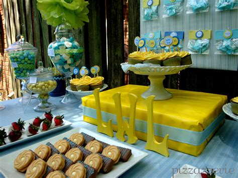 blue baby shower blue yellow baby shower pizzazzerie