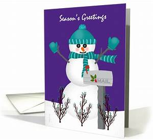 christmas card for mail letter carrier snowman mailbox With letter carrier christmas thank you cards