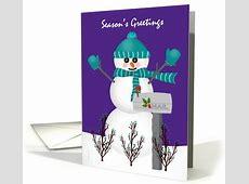 Christmas Card for Mail Letter Carrier Snowman Mailbox