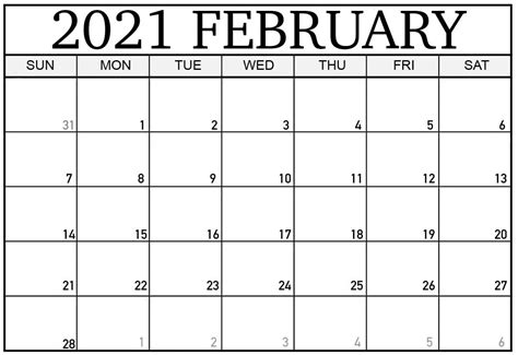 Printable february 2021 templates are available in editable word, excel a classic february 2021 printable calendar in a large box grid template. Printable February 2021 Calendar With Holidays Template ...