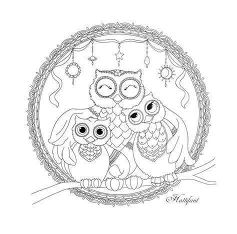 mandala  colorear hattifants owl family love mandalas  mas