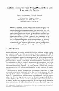 Pdf Surface Reconstruction Using Polarization And
