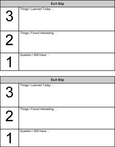 Exit Ticket Template 4 Exit Ticket Template Free