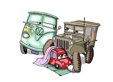 cars sarge and fillmore sarge fillmore and rosie by nevuela on deviantart