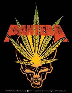 Pantera Weed Leaf Skull Sticker