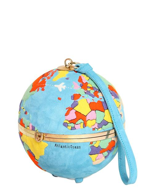 lyst olympia le tan globe hand embroidered suede clutch