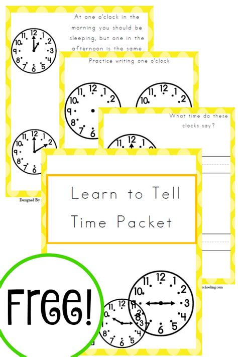 free learn to tell time packet learning rounding and
