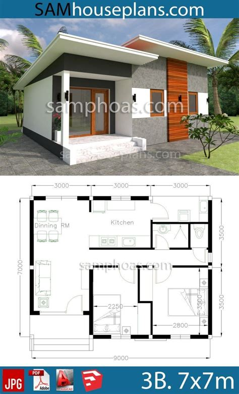 House plans 9x7m with 2 Bedrooms #casaspequeñas House