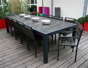 Table Metal Exterieur : table m tal et plateau bois vieilli table design table ~ Teatrodelosmanantiales.com Idées de Décoration