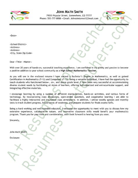 Cover Letter For Teachers Application by Math Cover Letter Sle Education Sle