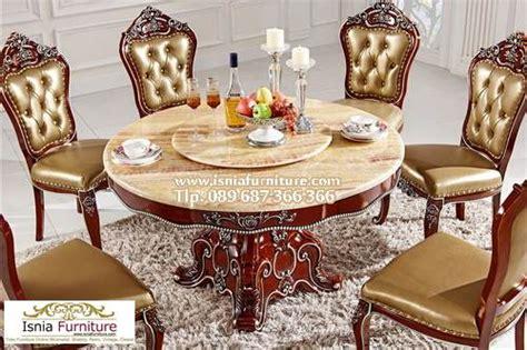model meja makan mewah bulat  kursi bahan kayu