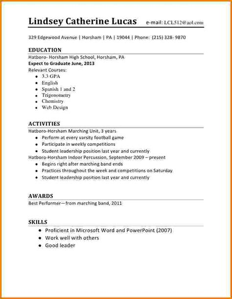school schedule template 5 first time student resume financial statement form