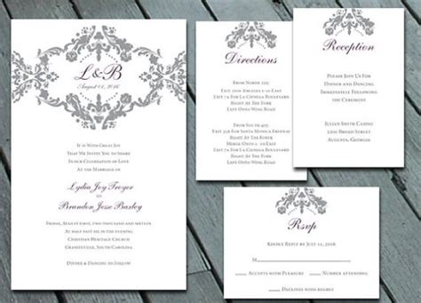 damask wedding invitation suite with rsvp info card