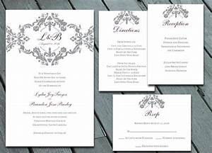 damask wedding invitation suite with rsvp info card With digital wedding invitations with rsvp