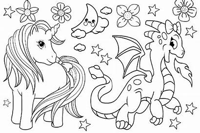 Unicorn Coloring Dragon Pages Friends Sheets Fighting