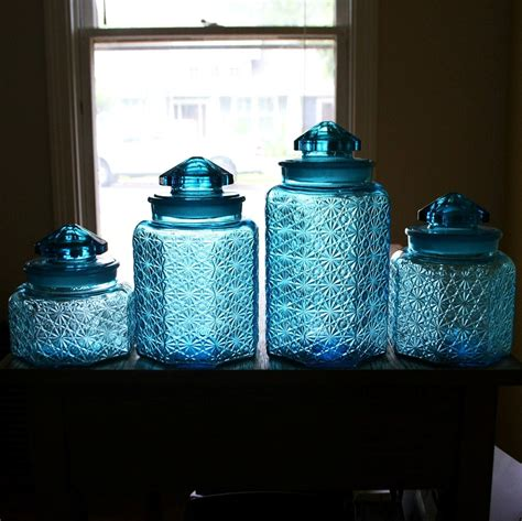 colored glass kitchen canisters beautiful vintage blue glass canister set button