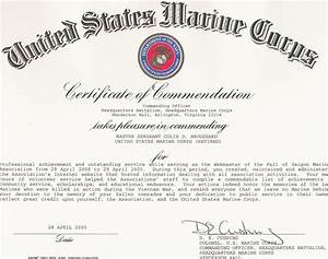 certificates of commendation With certificate of commendation usmc template