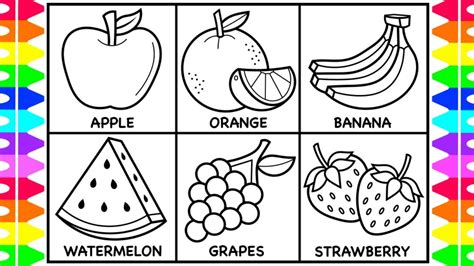 How To Draw Fruit For Kids 🍏🍊🍌🍉🍇🍓Fruit Drawings For Kids