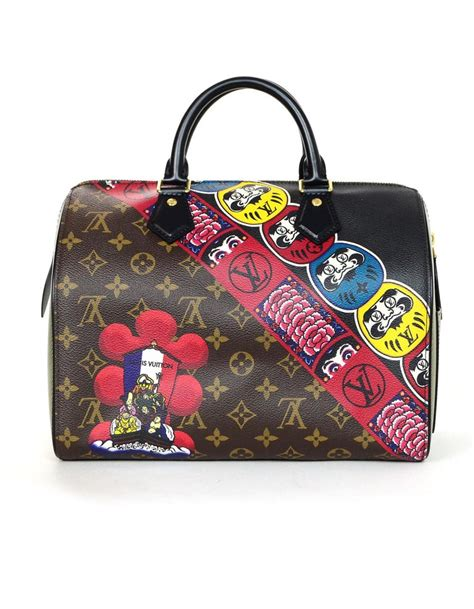 louis vuitton lv  limited edition monogram kabuki leather speedy  bag  sale  stdibs