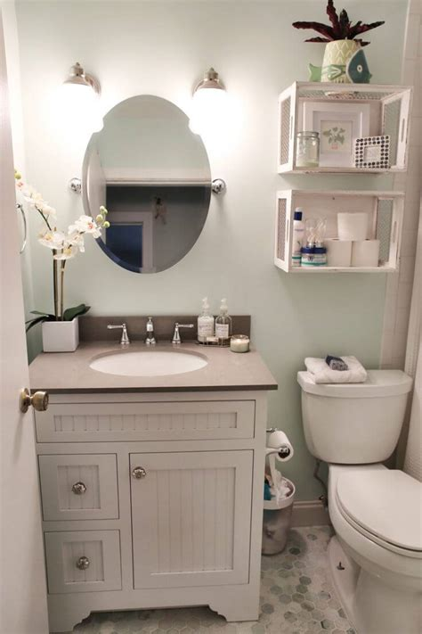 Several space saving devices were used in this small bathroom. Top 10 DIY Bathroom Renovations Trends 2017 - TheyDesign.net - TheyDesign.net