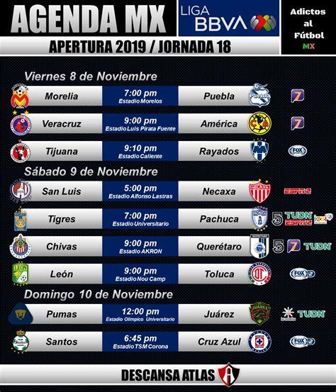 LIGA MX: Jornada 18 | Apertura 2019. Horarios y canales de ...