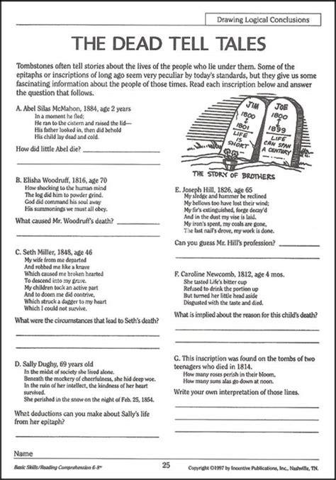 reading comprehension worksheets grade 6 reading
