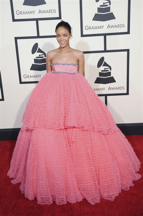 rihannas pink grammys gown looked  stylecaster
