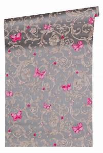 tapete versace home ranken grau pink glitzer 34325 5 With balkon teppich mit versace tapete günstig