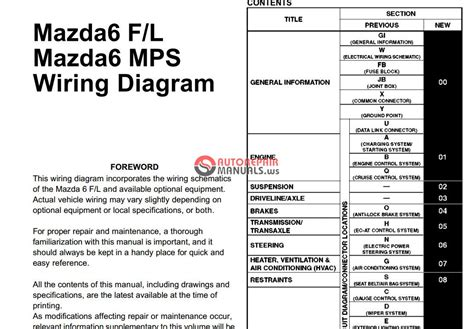 Wiring Diagram For 2007 Mazda 3 by Mazda 6 Gg 2002 2007 Wiring Diagrams Auto Repair