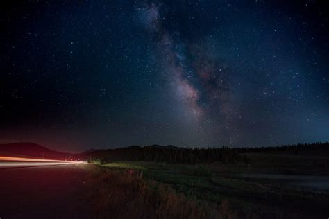 Road Starry Night Sky Lights Car Milky Way