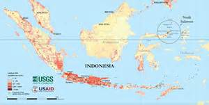 Map of population density and volcanoes in Indonesia. Indonesia