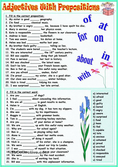 Adjectives With Prepositions  Ingles  Pinterest  Prepositions, English And English Resources