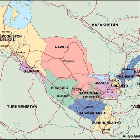uzbekistan political map eps illustrator map vector