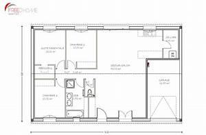 plan maison 90m2 avec garage With plan de maison 90m2 plain pied