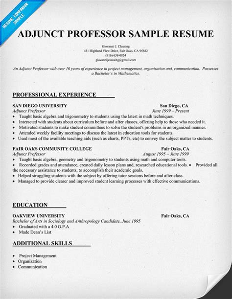 adjunct instructor resume resume and writing tips