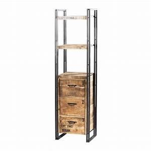 Etagere Metal Et Bois : etag re m tal et bois factory 3 tiroirs et tag res mobilier ~ Teatrodelosmanantiales.com Idées de Décoration