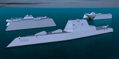 Catamaran Aircraft Carrier Design by Uss Zumwalt With 2 Small Trimaran Carriers By G Jenkins