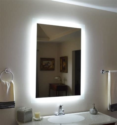 wall mounted lighted vanity mirror modern bathroom