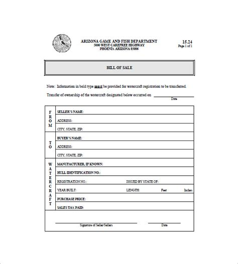 Printable Boat Bill Of Sale by Boat Bill Of Sale 8 Free Word Excel Pdf Format