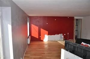 sy m photos de mon salon en cours besoin de conseils With peinture mur rouge et gris