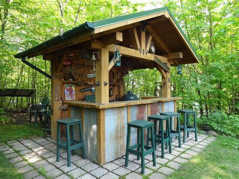 Backyard Saloon - rustic outdoor bar with corrugated steel accents outdoor
