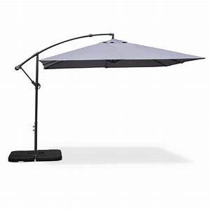 Parasol Déporté Carré : parasol d port carr 3x3m hardelot gris achat vente parasol parasol carr 3x3m les soldes ~ Mglfilm.com Idées de Décoration
