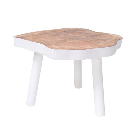 white wooden table l hk living coffee table l wooden tree white 65x65x46cm