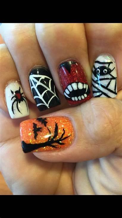Acrylic Halloween Nail Nails Designs Fall Easy