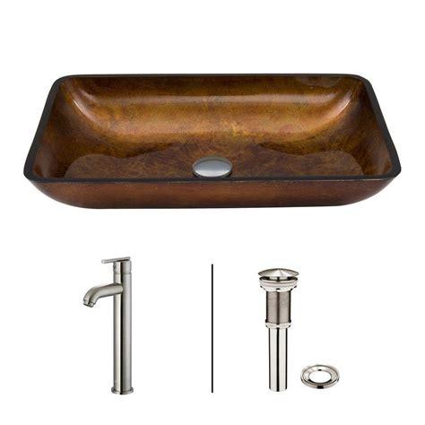 vigo russet glass vessel sink vigo rectangular glass vessel sink in russet faucet set in