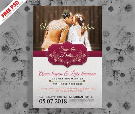 wedding invitation post card psd