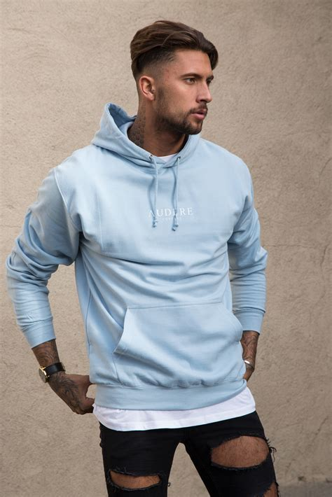 light blue hoodie light blue hoodie white print audere couture
